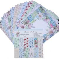 24pcs / lot 6 pulgadas de álbum de recortes de papel pads Respiración del Fondo del resorte del arte de Origami Papel para tarjetas de bricolaje cumpleaños Arte de papel Scrapbook
