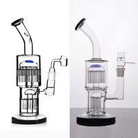 Toro reciclador bujíbito bongs de vidrio con doble brazo Difuso PERC PERC TUBO DAB RIG con una articulación de 18 mm