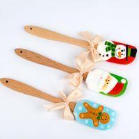 جديد عيد الميلاد تصميم الغذاء غير عصا كعكة زبدة سكين ملعقة مقبض خشبي سيليكون مكشطة أدوات المطبخ الخبز