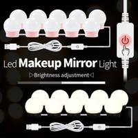 12V Makyaj Masa Ayna Işık AB ABD Adaptörü Hollywood'un Vanity Lambası Led Tablo 10 Ampüller Kiti USB 220V Dim Ampul Makyaj Giyinme