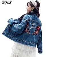 Zqlz 2019 вышивки Цветочные Vintage Denim куртка женщин отложным воротником однобортный Плюс размер 5XL Свободные джинсы ветровки Женщины