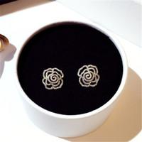Super Glittering nouveaux diamants de marque de luxe de la mode ins chaud camélia élégante rose zircon boucles d'oreilles de fleurs pour femme filles HN208