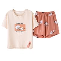 Women Pajama Sets Summer Knitted Cotton Sleepwear Cartoon Cu...