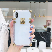 Square Transparent Back Cover Plating Clear Shockproof Phone...