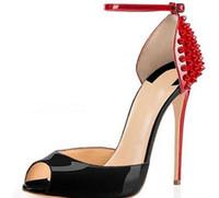 {Original Box} 2019 Novas mulheres moda Rebites Cravado Unhas Vermelho Fundo Salto Alto Vestido Peep Toes Sapatos super Sandálias de Salto Alto tamanho 34 -42}