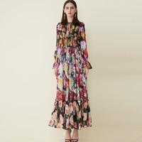 2019 여성 런웨이 드레스 오 넥 긴 소매 꽃 무늬 주름 우아한 디자이너 캐주얼 휴가 맥시 드레스
