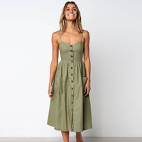 Vintage Summer Green Sundress Women Summer Dress 2019 Boho Style Vestito sexy Midi Button Backless Striped Floral Beach femminile