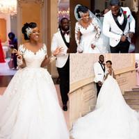 Арабские длинные рукава африканские шариковые платья свадебные платья кружева аппликация с бисером длинный свадебное платье явное экипаж шеи Vestidos плюс размер