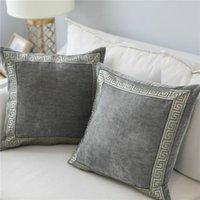 Funda de almohada suave terciopelo gris Cojín bordado Decoración Sofá Azul decorativo Almohada 60 * 60 cm de la almohadilla de tiro cubierta