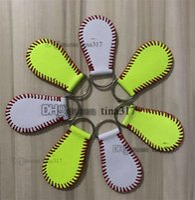 熱い販売野球キーチェーンPUレザーキーホルダーソフトボール野球ステッチキーリング男性女性バッグペンダントT3C0019