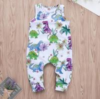 فتاة ديناصور طباعة بلا أكمام رومبير طفل الصيف الأبيض بذلة الاطفال ملابس قطعة واحدة ZHT 202