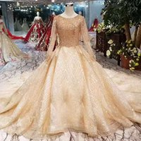 Golden Luxury Wedding Gowns With Shiny Lace Long Sleeves Lac...