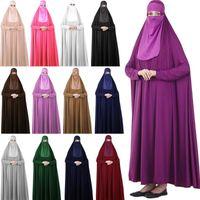 Ethnische Kleidung 2 stücke Ramadan Muslim Sets Gebet Kleidungsstück Frauen Mit Kapuze Abaya Kleid Niqab Burka Khimar Jilbab Islamische arabische Robe Kaftan
