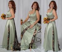 Stilvolle Sage Camo Mutter der Brautkleider Halter A Ganzkörperansicht Plus Größe Bräutigam Mama Formale Abendkleider Hochzeit Gastkleid
