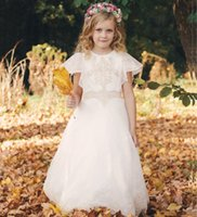 Flower Girl Dresses O- neck Lace Appliques Short Sleeves Ball...