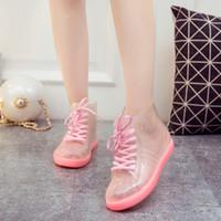 Sıcak satış-Kargo Kadın Şeffaf Martin Yağmur Botları Ayakkabı Bayanlar Su geçirmez Şeffaf Kristal Jelly Yağmur Ayakkabı Botaş Lluvia Mujer