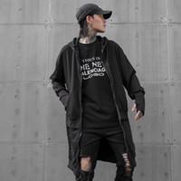 Homens outono inverno preto multi zippers patchwork longos casacos com capuz casaco homem de rua do punk hip hop casaco cardiagn