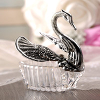Romantic Swan Candy Box Wedding Candy Box Acrylic Silver Gol...