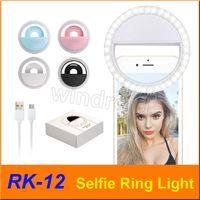 RK12 RK-12 قابلة للشحن العالمي led selfie ضوء عصابة ضوء فلاش مصباح الإضاءة selfie الدائري كاميرا التصوير لجميع الهاتف أرخص 50 قطعة