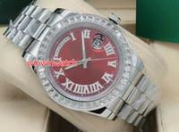 Новые поступающие мужские часы багеты бриллиантовый безель 41 мм механический механизм серебро нержавеющая сталь Римский циферблат мужские бриллиантовые наручные часы