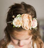 niñas brithday vinchas partido bohemio estilo de novia de flores de la boda de los niños de la corona de perlas de simulación vendas de la flor elástica F9991