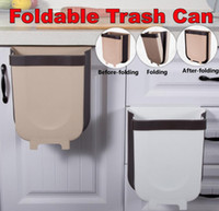Plegable Cubo de la basura de la cocina puerta del armario de la basura puede colgar de pared cestos de basura flexiones de la parte superior de la basura de basura cubo de basura de contenedores