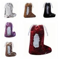 Bolsas Lantejoula Meia de Natal da sereia paillette Meias Presente sacos decorados Xmas Stocking Pendant Papai Noel com cordão Saco dos doces C1555