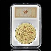 Calendario di moneta commemorativa Calendario Mayan Aztec Mexico 1oz placcato oro Souvenir Badge Collezione con scatola PCCB