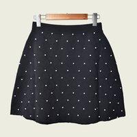 2019 fall winter schwarz klassische reine farbe strickte perlen kurze mini frauen mode straking rock röcke ag1023055s