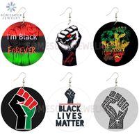 SOMESOOR Nero Sempre Potenza Fist Collezioni africana di legno Orecchini AFRO RASTA Detti disegni dei monili per le donne Regali