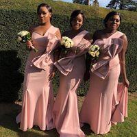 Günstige Brautjungfernkleider mit Big Bow 2019 Lange Afrikanische Trauzeugin Kleid Für Hochzeitsgesellschaft Gast Mantel Vestido De Festa