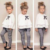 Primavera Autunno Baby Girl Ruffle Bow Boutique Set Vestiti Moda Kid T Shirt Top + Plaid Pantaloni 2PC Suit Bambini Carino Outfit Tuta