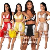 Женская Дизайнерское Два Бюстия Щитовая рука связала Пляж 2PCS платье Мода Тонкий Sexy Женская Одежда