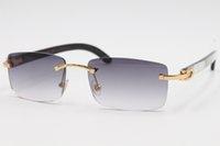 도매 핫 8200757 스타일 안경 정품 천연 검은 색과 흰색 세로 줄무늬 버팔로 뿔 무테 선글라스 프레임 크기 : 56-18-140mm