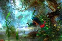 -w-03089 Modernt djur Phoenix påfågel Topp Handmålat Handkors Konst Oljemålning HD Tryck Konst Oljemålning på kanfas väggbilder