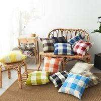 45 cm Kissenbezug Leinen Big Plaid Sofa Kissen Kissen Check Kissenbezug Home Textilien Sofa Kissenbezug Home Decor Ljja3641-13