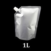 1Liter prata alumínio alumínio alimento grau doy pacote bolsa 1 litro de pé para cima saco de empacotamento com bico de enchimento de canto para óleo de vinho líquido