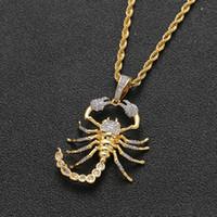Tier Scorpion Anhänger für Männer mit Seil Kette Gold-Silber-Farbe Bling KubikZircon Halskette Schmucksachen für Geschenk