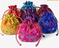 phénix dragon ethnique Petit sac damas fête de mariage sac Faveur brocart de soie chinoise Pouch Drawstring Bijoux cadeau sacs Emballage 10pcs