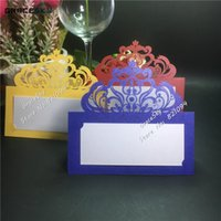 파티 테이블 장식 결혼 호의 50PCS 레이저 절단 새로운 레이스 크라운 이름 장소 시트 종이 결혼식 초대 표 카드