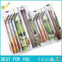 Yüksek Kalite Renkli Straw 304 Paslanmaz Çelik Payet Temizleyici Fırça Seti ile Kullanımlık Bent Metal İçme Straw