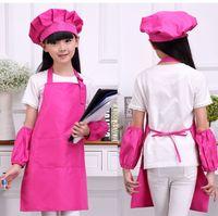 Çocuklar Pişirme Pişirme Yazdırılabilir LOGO Çok güzel 4pcs / set Boyama için Mutfak Önlüğü Waists 9 Renkler SleeveChef Şapkalar ile Çocuk Önlükleri sanat
