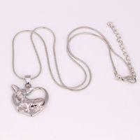 HX24 Chihuahua Coeur Pendentif lien chaîne / chaîne de serpent Collier Argent Plaqué Amour Chien Chien