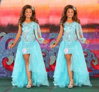 2019 cristal scince cristal perlé filles pageant robe détachable dentelle dentelle salut haute fleur girls robes première communion robes de communion sur mesure