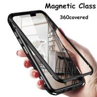 Doppelte magnetische Glasadsorption Metall Telefonkasten für Samsung M10 M20 M30 A10 A20Full Coverage Aluminium Alloy Frame mit gehärtetem Glas