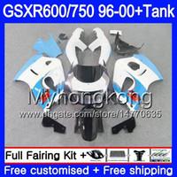 Bodys + Tank لـ SUZUKI Cyan white stock SRAD GSXR 750 600 1996 1997 1998 1998 2000 291HM.38 GSXR600 GSXR-750 GSXR750 96 97 98 99 00 Fairing