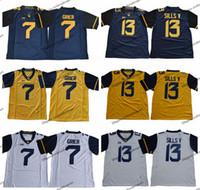 2019 웨스트 버지니아 등산 13 데이비드 실즈 V 7 윌 그레어 컬리지 축구 유니폼 블루 옐로우 # 7 윌 그리에 대학 축구 셔츠
