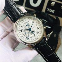 Nuevo reloj de lujo de 7 pines Logine Automático machanical relojes para hombre diseñador de moda Relojes de pulsera Espejo zafiro correa de piel de becerro Montre de luxe