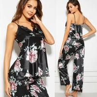 2019 femmes en satin de soie sans manches Pyjama Ensembles dentelle noire pyjamas Floral + Pantalons vêtements de nuit sexy Loungewear Sets Pyjama
