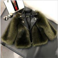 Neue Ankünfte Kurze Stil Mädchen Pelzmantel Jacke Nachahmung Fuchs Künstliche Pelzgras Hohe Qualität Plüsch + Leder Winter Kinder Baby Mädchen Outwear
